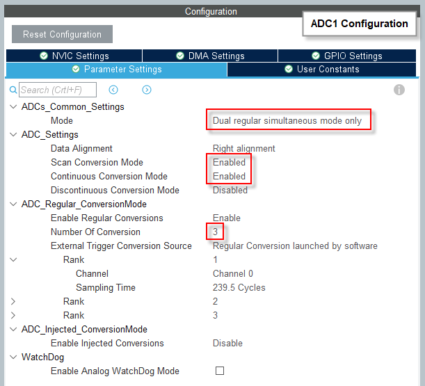 CubeMX - ADC1 Parameter Settings