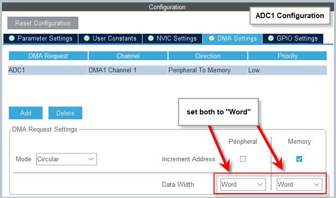 CubeMX - ADC1 - DMA Configuration