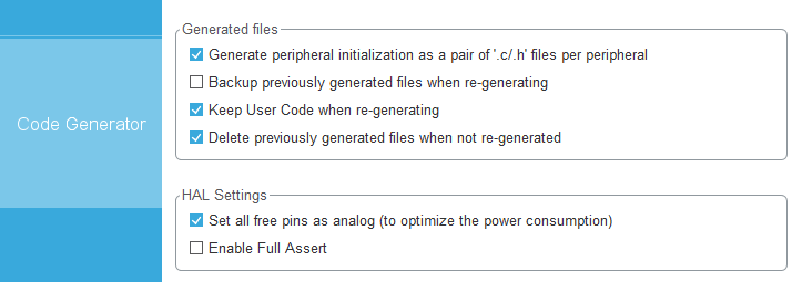 Code Generator Settings