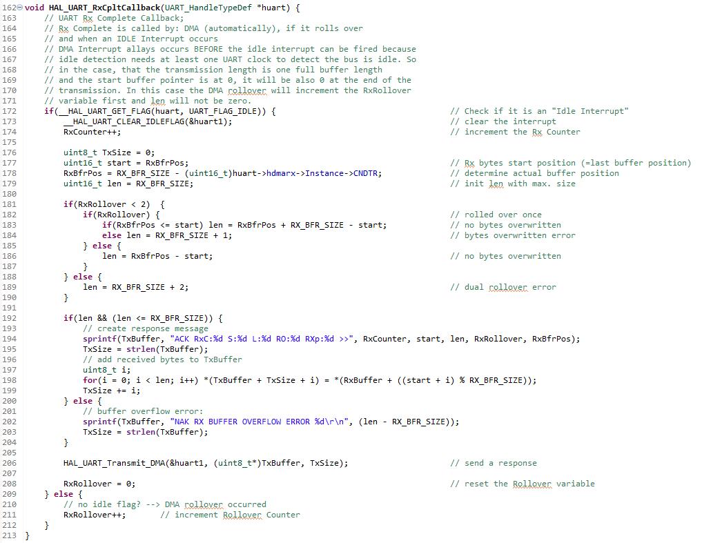 STM32F103C8 - UART idle interrupt circular DMA tutorial - UART Rx Complete callback function implementation