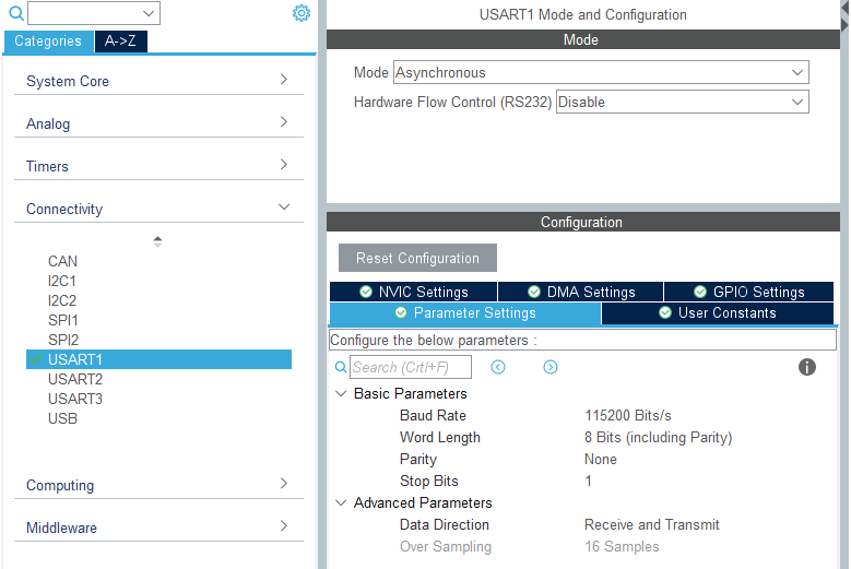 STM32F103C8 - UART idle interrupt circular DMA tutorial - CubeMX configuration of UART1